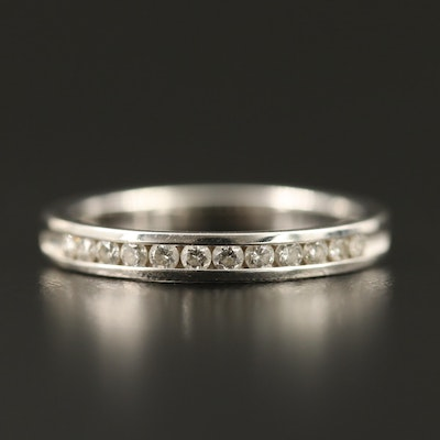 14K White Gold Diamond Channel Band