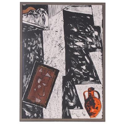 """Italo Scenga Lithograph """"Cubist"""", 1989"""