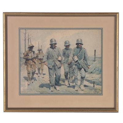 Marcel Huard World War I Genre Watercolor Painting, 1923
