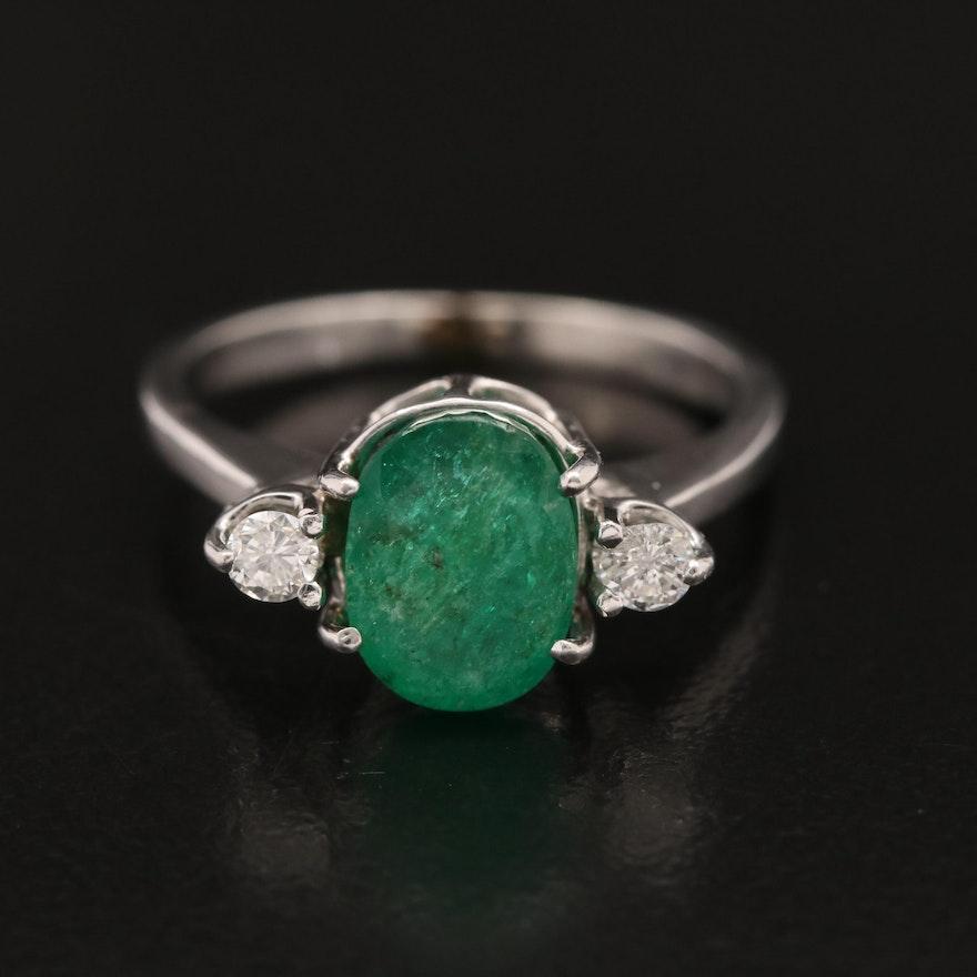 14K Emerald and Diamond Three Stone Ring