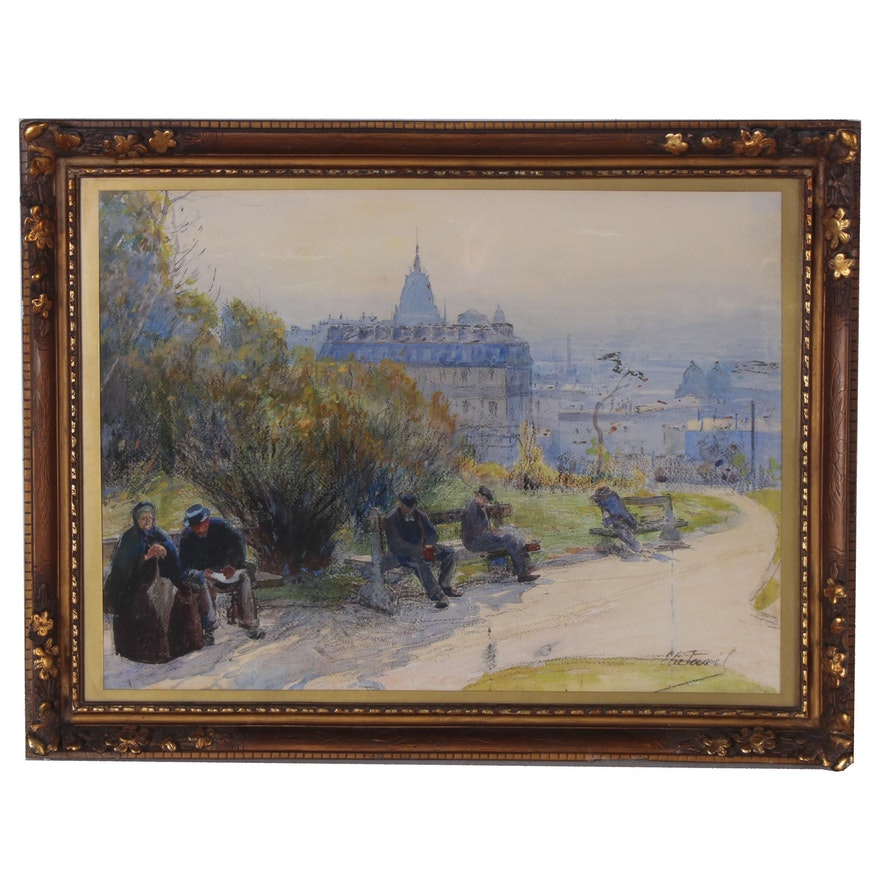 Elie Anatole Pavil Watercolor Painting, Early to Mid 20th Century
