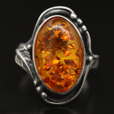 Western Style Sterling Sterling Amber Ring