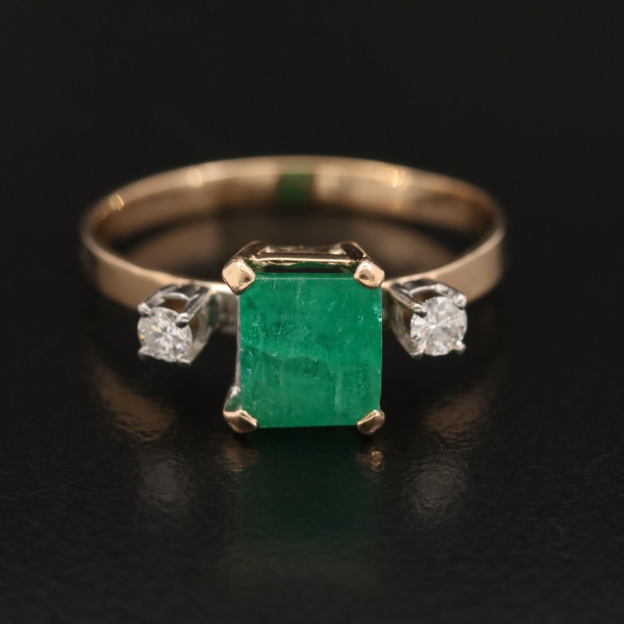 14K Emerald and Diamond Ring with Palladium Accents