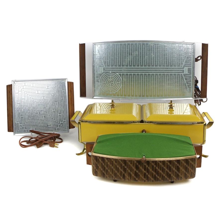 Fire King Chafing Dish, Salton Hotray Hot Plates, and Bun Warmer, Mid-20th C.
