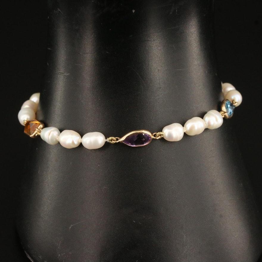 14K Pearl and Gemstone Bracelet