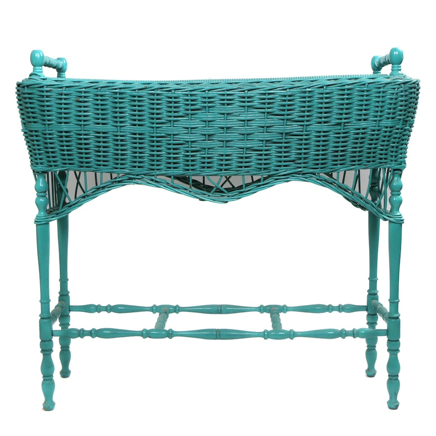 Painted Wicker Weave Planter Stand, Mid-20th Century
