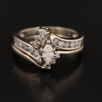 14K Diamond Ring and Band Set