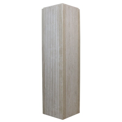 Art Deco Style Travertine Pedestal, Late 20th Century