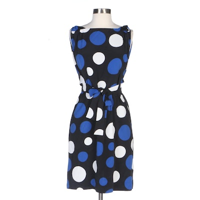 Michael Kors Polka Dot Tie Front Draped Dress