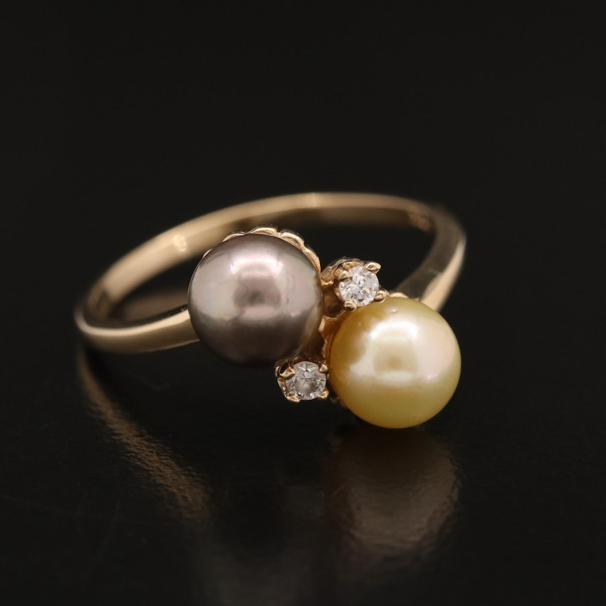 10K Pearl and Cubic Zirconia Bypass Ring