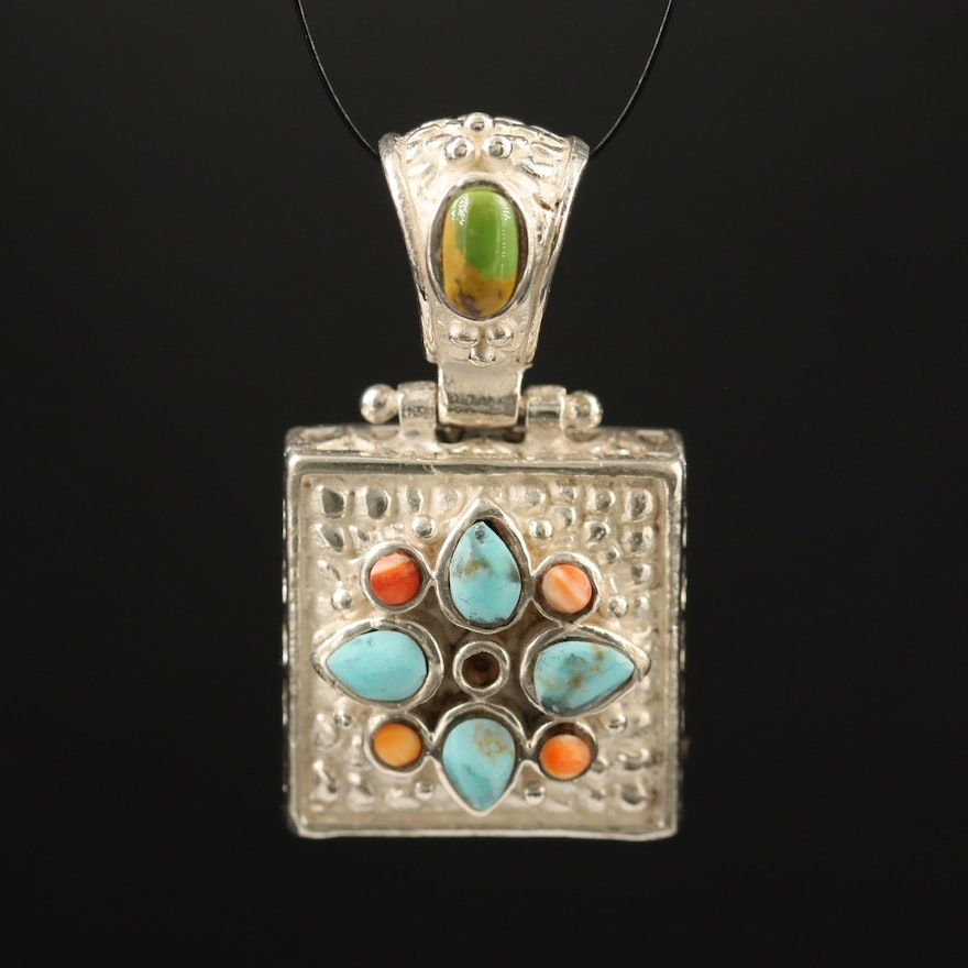 Barse Sterling Silver Turquoise and Spiny Oyster Pendant