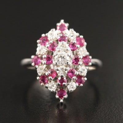 14K Tiered Diamond and Ruby Navette Ring