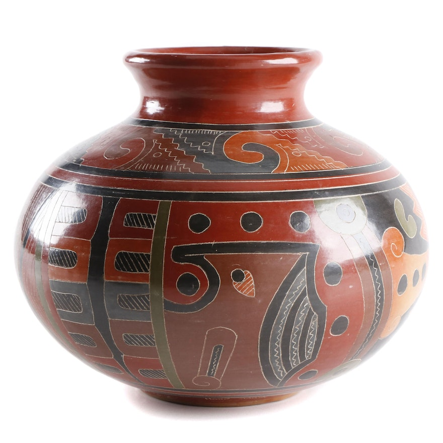 Roger Calero Hand-Painted Nicaraguan Pottery Vase, 1995