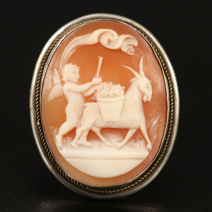 Vintage 800 Silver Shell Cherub and Goat Cameo Converter Brooch