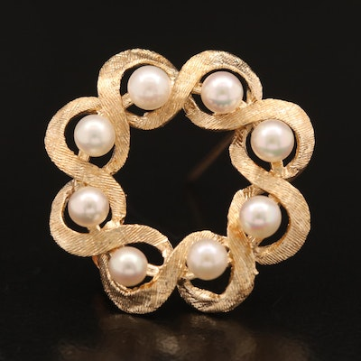 Vintage 14K Pearl Brooch with Florentine Finish