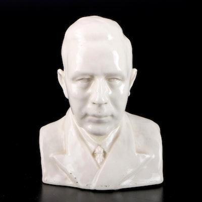 White High Gloss Ceramic Male Bust