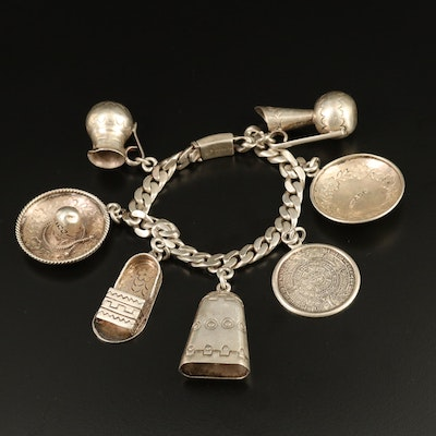 Mexican Sterling Silver Themed Charm Bracelet
