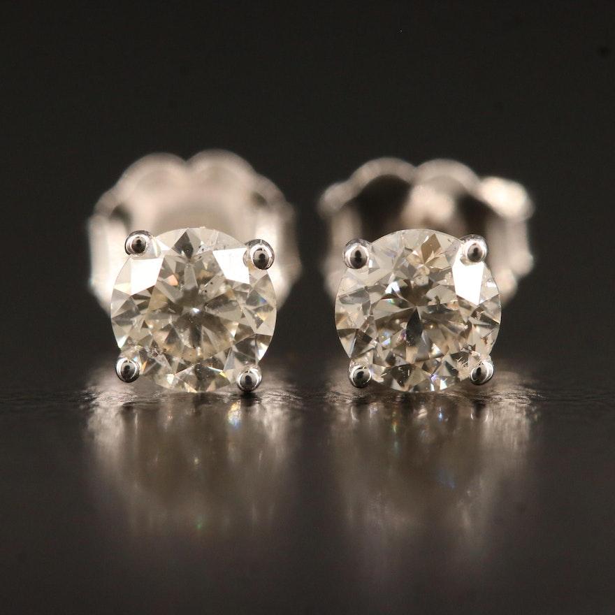 14K 0.81 CTW Martini Set Diamond Stud Earrings