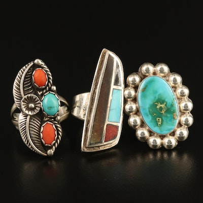 Western Style Sterling Silver Rings Featuring Turquoise, Coral and Resin Accents