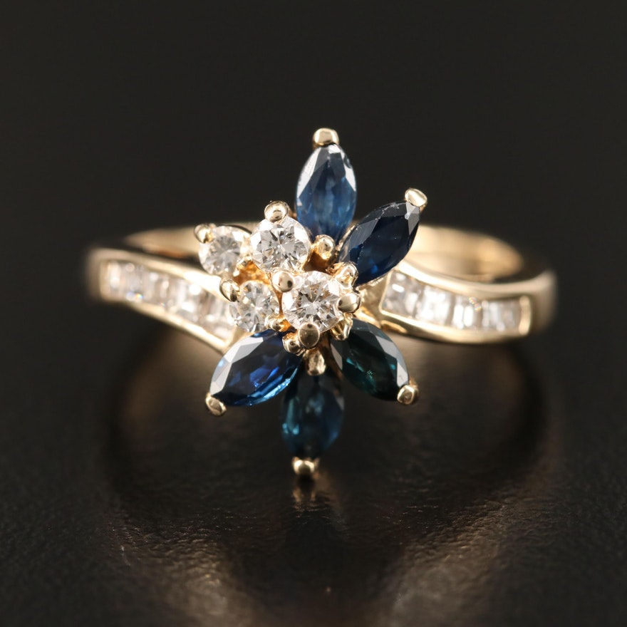 14K Sapphire and Diamond Ring Featuring Floral Bypass Design
