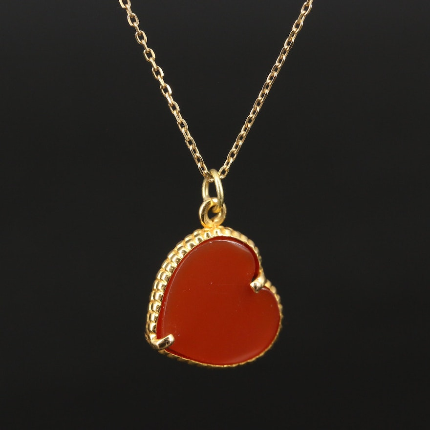 18K Carnelian Heart Pendant Necklace