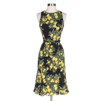 Escada Lemon Print Crepe Silk Double Wrap Belt Sleeveless Dress