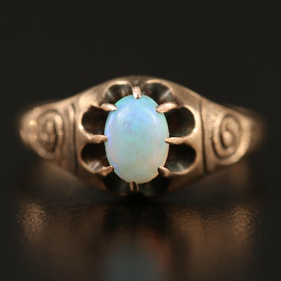 Vintage 10K Belcher Set Opal Ring with Swirl Motif Shoulders