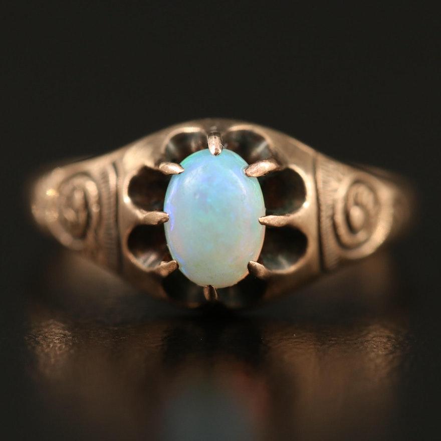 Vintage 10K Belcher Set Opal Ring with Swirl Motif Shoulders