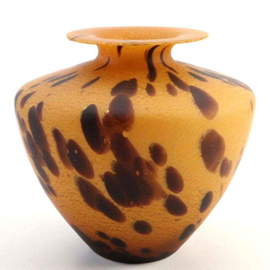 Italian Azurra Handblown Art Glass Vase