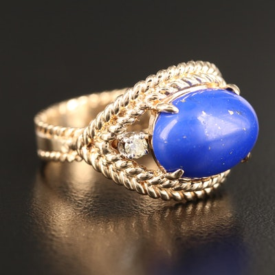 14K Imitation Lapis Lazuli Ring with Diamond Accents and Rope Detail