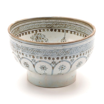 Indo-Persian Blue-Glazed Stoneware Footed Bowl, Antique