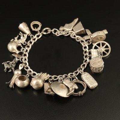 Sterling Silver Western Themed Charm Bracelet