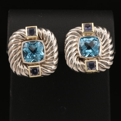 David Yurman Sterling Silver Topaz and Iolite Earrings with 14K Accents