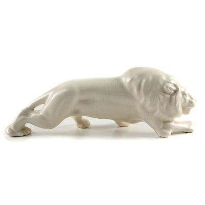 Ceramic Lion Figurine, Mid-20th Century