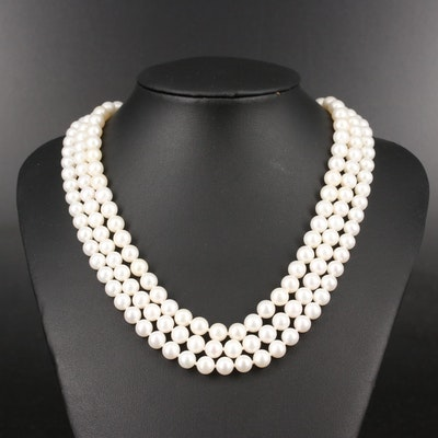 Sterling Pearl Triple-Strand Necklace