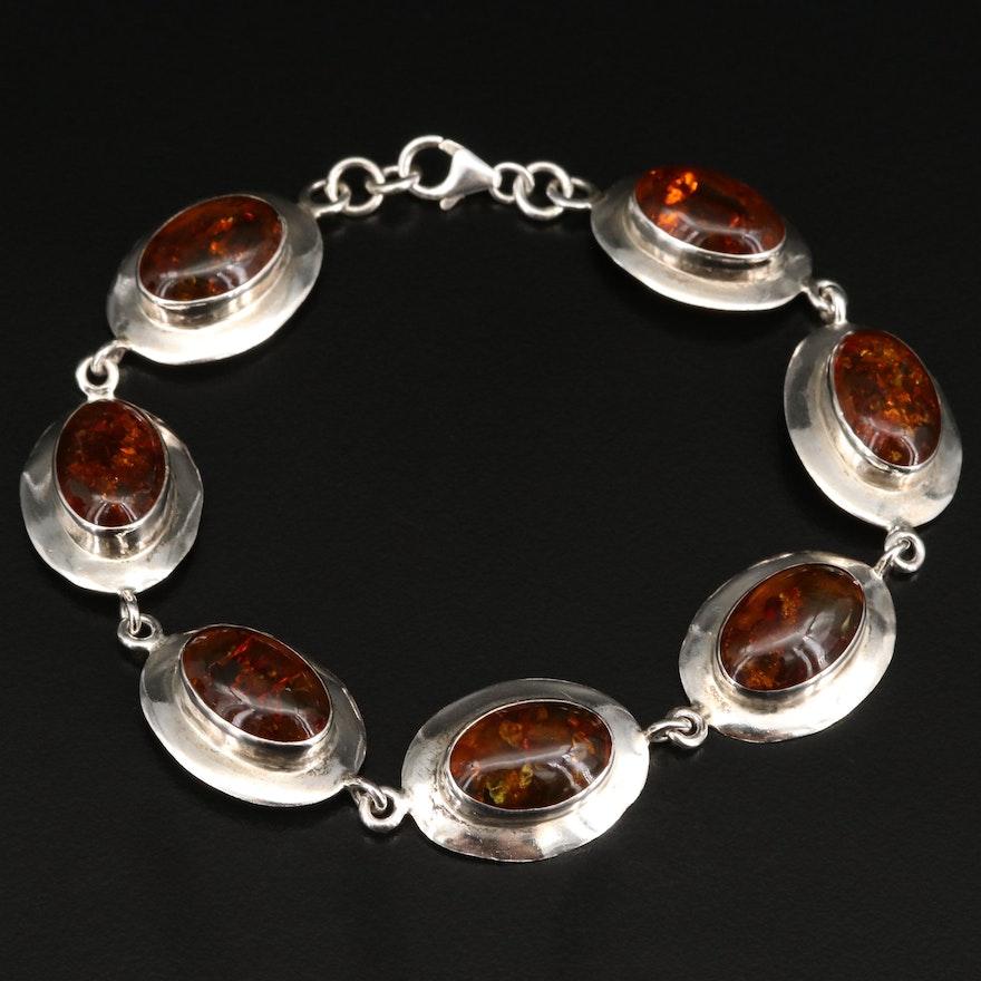 Sterling Silver Amber Oval Link Bracelet
