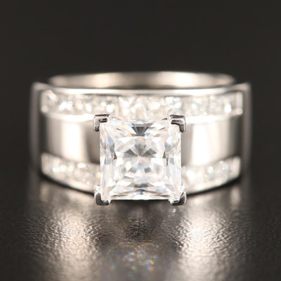 14K and Platinum 1.00 CTW Diamond Semi-Mount Ring with Cubic Zirconia Center