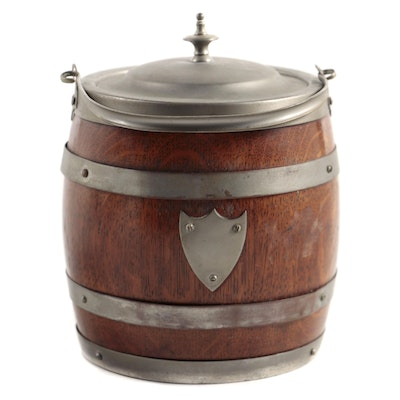 Lidded Metal and Wood Ice Bucket, Mid to Late 20th Century