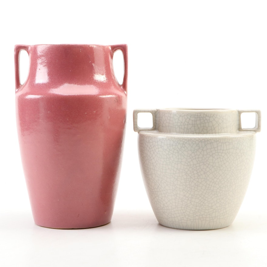 Art Deco Handled Pottery Vases, Early to Mid 20th Century