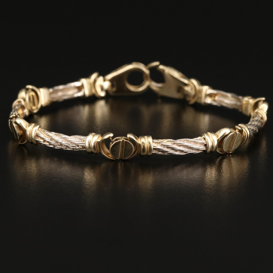 14K Link Bracelet with Twisted Cables