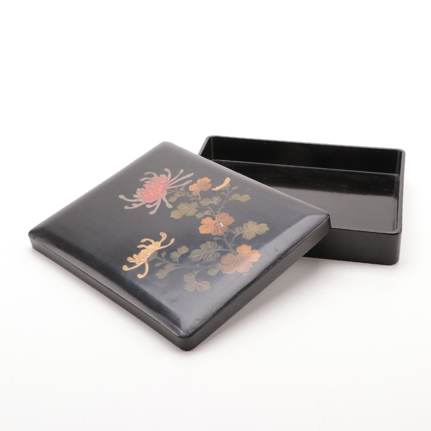 East Asian Lacquer Lidded Box with Floral Motif, Late 20th Century