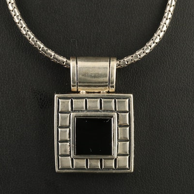 Sterling Black Onyx Square Pendant Necklace