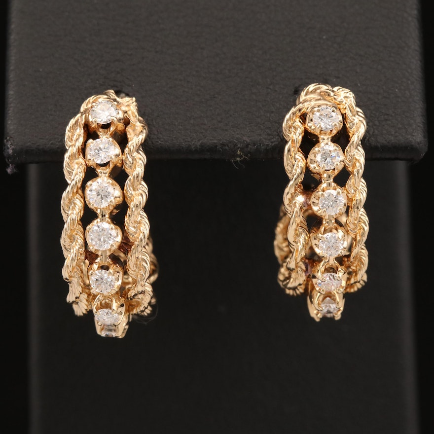 14K Diamond J-Hoop Earrings with French Rope Trim
