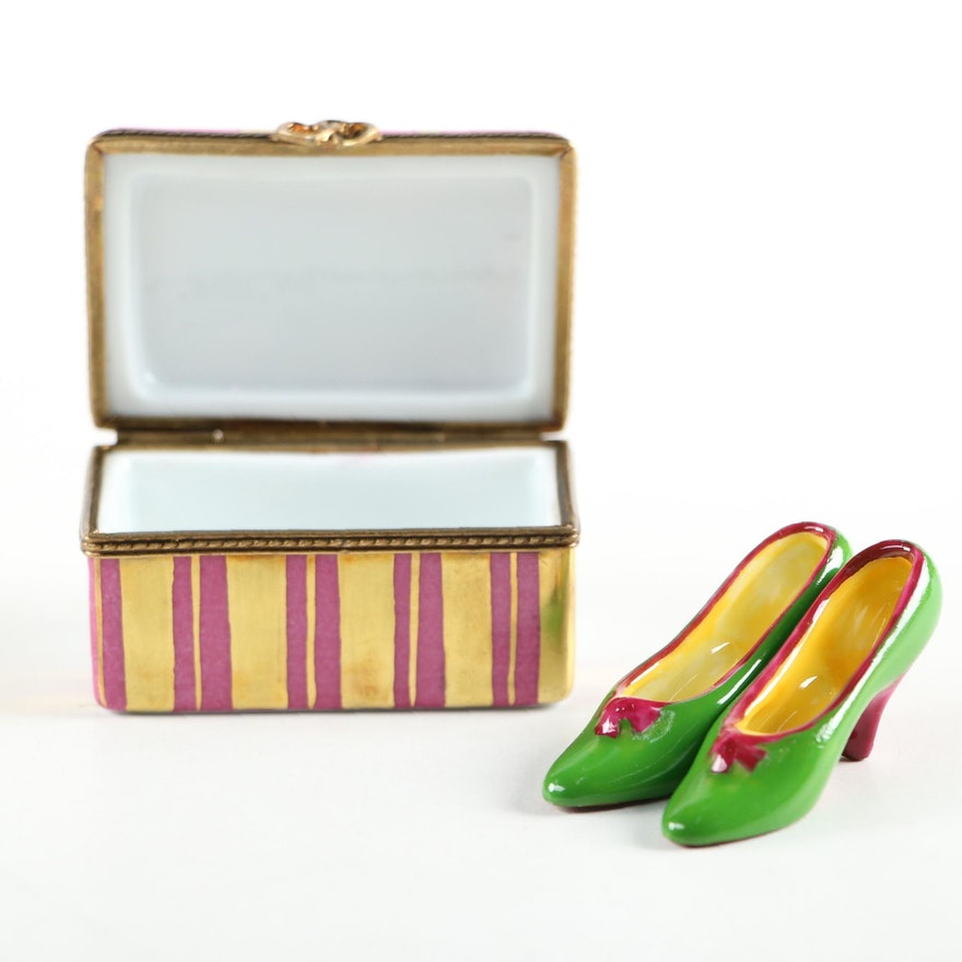 French Hand-Painted Porcelain Shoe Box with Shoes Limoges Box
