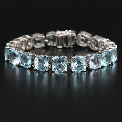 Sterling Silver Topaz Link Bracelet