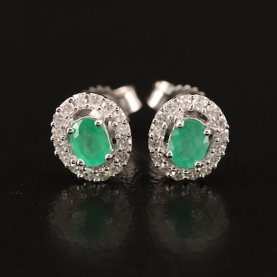 10K Emerald and Diamond Earrings