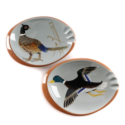 "Stangl Pottery ""Pheasant"" and ""Duck"" Painted Ashtrays, Mid/Late 20th Century"