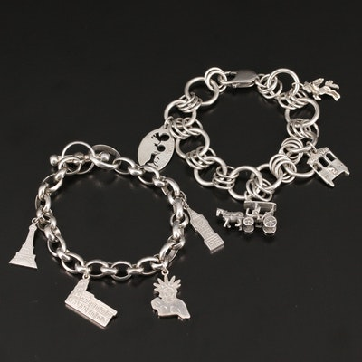 Sterling Silver Charm Bracelets Including Eiffel Tower and Unicorn