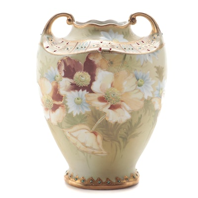 Japanese Hand-Painted Porcelain Floral Urn Vase, Early to Mid 20th Century