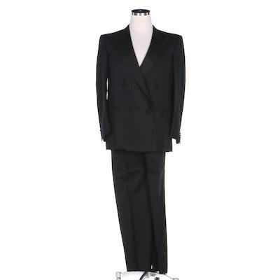 Gucci Silk Shadow Stripe Jacket and Black Wool Pants